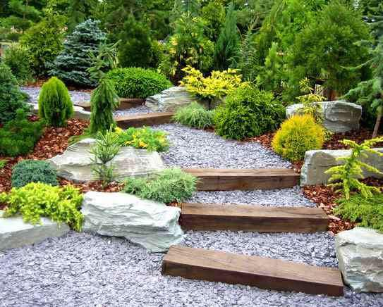 Landscaped steps and rockery