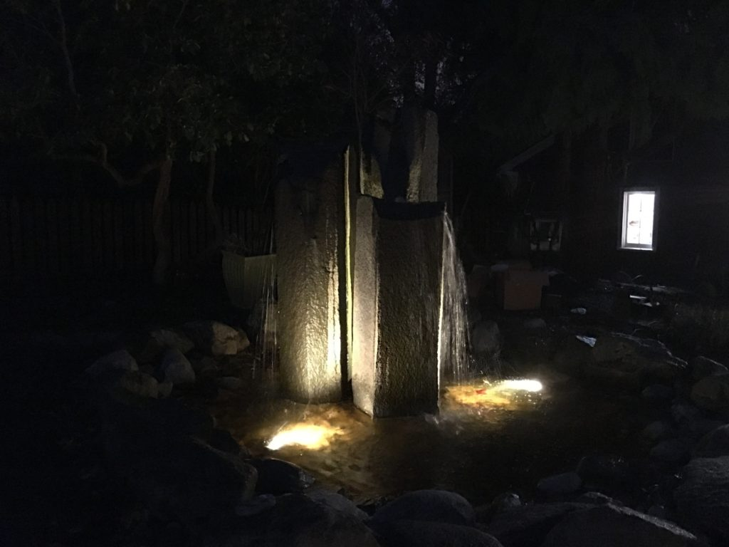 Fountain with landscape lighting